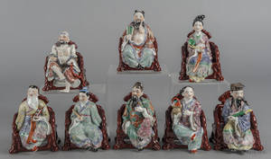 Set of eight Chinese porcelain immortals