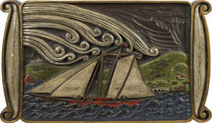 Relief carved and painted plaque of a sailing ship ca 1900