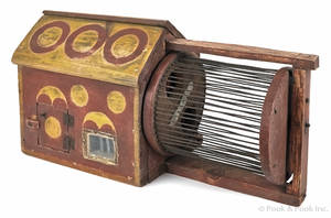 Painted pine squirrel cage late 19th c