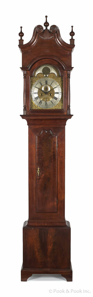 Chester County Pennsylvania Chippendale walnut tall case clock late 18th c