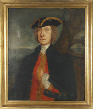 English oil on canvas portrait of a gentleman in military dress ca 1800
