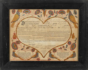 Lancaster County Pennsylvania printed and hand colored fraktur birth certificate