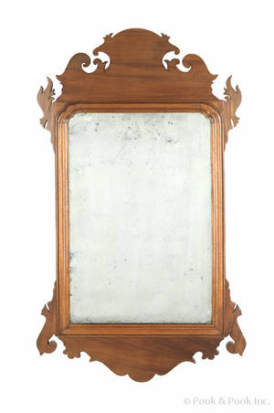 Philadelphia Chippendale mahogany looking glass late 18th c