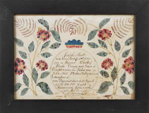 Bucks County Pennsylvania ink and watercolor fraktur birth certificate for Joseph Most b1795