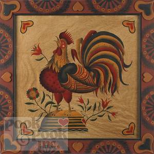 Contemporary oil on velvet theorem of a rooster