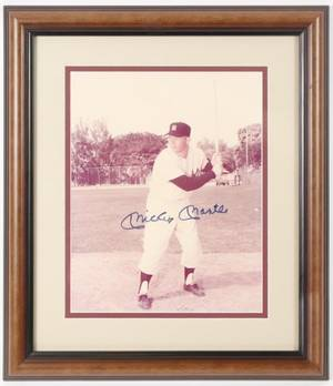 Framed Autographed Photo Mickey Mantle