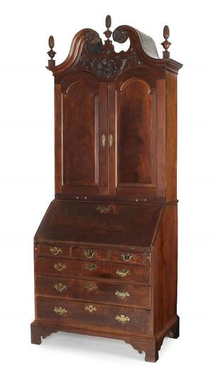 Philadelphia Chippendale walnut secretary bookcase ca 1755