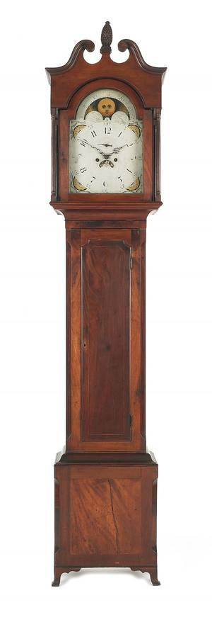 MidAtlantic Federal mahogany tall case clock ca 1805