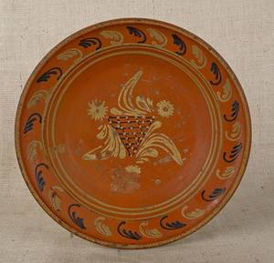 Moravian redware bowl early 19th c