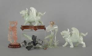 Pair of Chinese carved jade foo lions