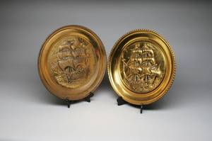 Pair of Brass Sailing Ship Chargers