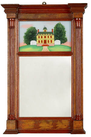 Sheraton painted pine mirror
