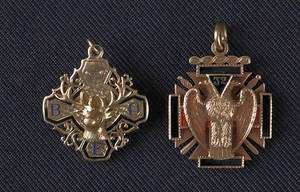 Two 14K yellow gold Masonic fobs with enamel