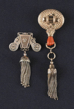 Two 14K yellow gold Victorian brooches with tassels