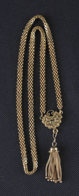 14K yellow gold Victorian necklace with black enamel and a tassel
