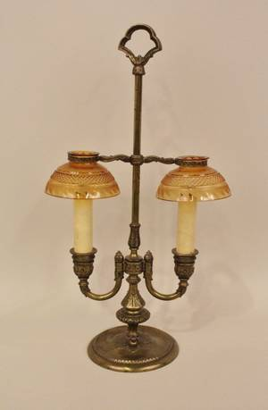 E 20th C Pair point Brass  Amber Glass Desk Lamp