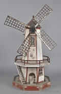 Painted model lighthouse windmill yard ornament early 20th c