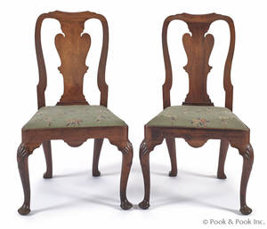 Pair of George II mahogany dining chairs