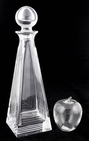 Group of 2 Tiffany  Co Items1 Apple 1 Decanter