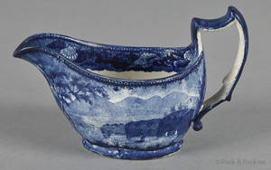 Historical blue Staffordshire Catskill Mountains Hudson River gravy boat 19th c