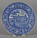 Historical blue Staffordshire Philadelphia Library plate 19th c
