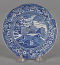 Historical blue Staffordshire City Hall New York plate 19th c