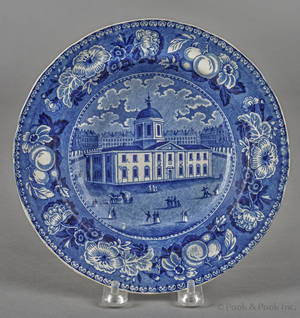 Historical blue Staffordshire Baltimore Court House shallow bowl 19th c