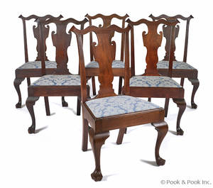 Set of six bench made Queen Anne style walnut dining chairs