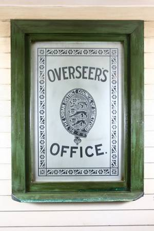 Etched Overseers Office Sign