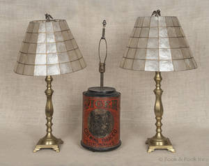 Pair of brass candlestick table lamps with mica shades