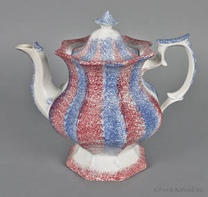 Red and blue rainbow spatter coffee pot 19th c