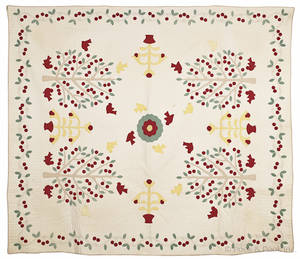Appliqu bird and cherry tree quilt early 20th c