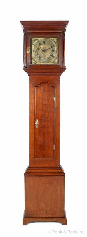 New Jersey Queen Anne walnut tall case clock ca 1750