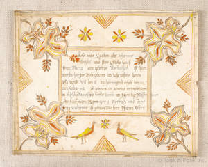 Berks County Pennsylvania ink and watercolor fraktur birth certificate for