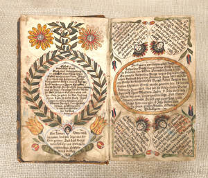 Bucks County ink and watercolor fraktur bookplate dated
