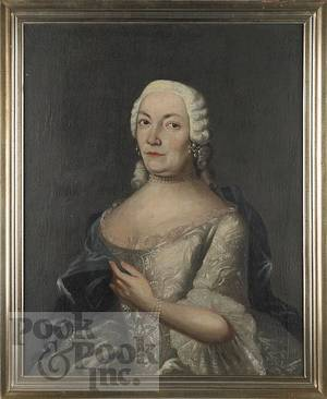 Continental oil on canvas portrait of a woman