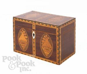 Federal style mahogany inlaid tea caddy