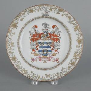 Chinese export porcelain armorial plate late 18th c