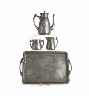 JP Kayson  Son German pewter tea service with raised floral decoration