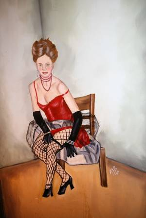 Painting of Can Can Dancer behind Curtain