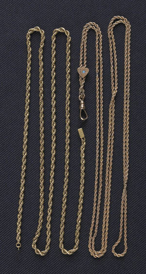 14K yellow gold rope slide chain with opal in slide