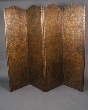 Italian Embossed Leather Four Panel Floor Screen