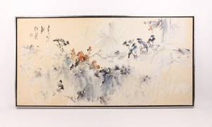 Japanese Birds WC on Canvas 20th C