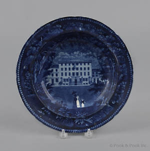 Historical blue Staffordshire United States Hotel Philadelphia soup bowl 19th c