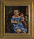 Oil on canvas portrait of a young girl in a blue dress mid 19th c