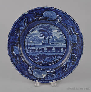 Historical blue Staffordshire Baltimore and Ohio Railroad level view plate 19th c
