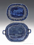 Historical blue Staffordshire West Point Military Academy reticulated basket 19th c