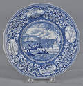 Historical blue Staffordshire Landing of the Fathers at Plymouth plate 19th c