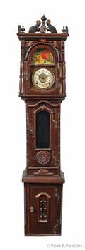 Victorian tramp art mahogany dwarf clock