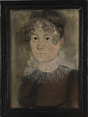 New England pastel folk portrait of a woman
